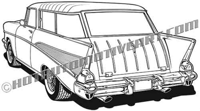 1957 chevy nomad clip art / rear view