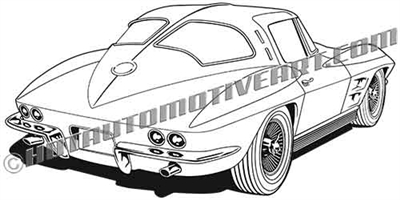 1963 corvette C2 clip art rear view