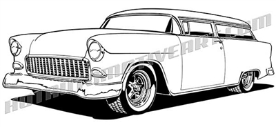 1955 Chevrolet 2 door wagon clip art - 3/4 view