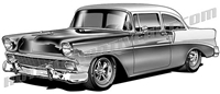 1956 Chevy classic clip art 3/4 view