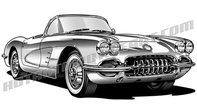 1958 chevy corvette clip art