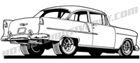 1955 Chevy clip art rear view