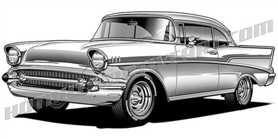 1957 chevrolet street rod clip art 3/4 view