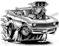 1969 Chevrolet Camaro cartoon clip art