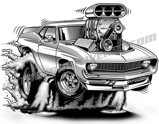 1969 Chevy Camaro Cartoon Clipart High Quality Buy Two Images Get