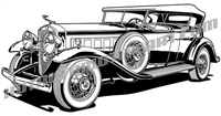 1929 lincoln touring car art 3/4 view