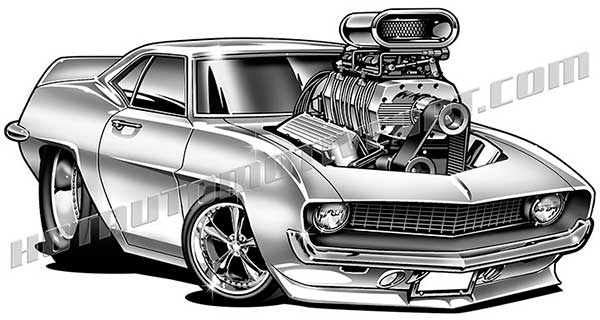 1969 Chevrolet Camaro Muscle Car Cartoon Clip Art Buy Two Images