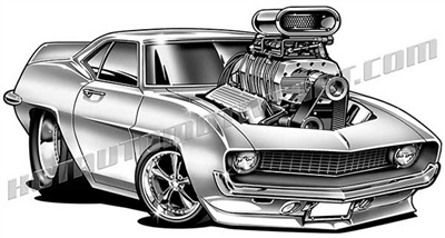 1969 chevrolet camaro cartoon clip art 3/4 view