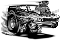 1969 ford mustang cartoon clip art 3/4 view