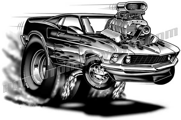 1969 Ford Mustang Cartoon Clip Art Buy Two Images Get One Image Free