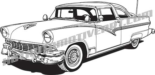 1956 ford crown victoria vector clip art  buy two images  get one image free