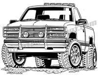 1992 Chevy 4x4 pickup truck truck vector clip art
