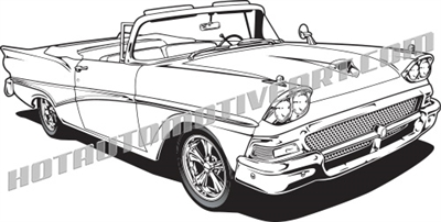 1958 Ford convertible clip art