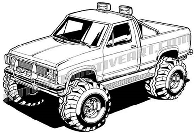 1990 Ford Ranger off road truck 3/4 view clip art