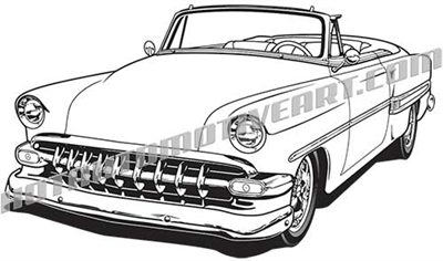 1953 Chevrolet custom convertible clip art