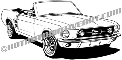 1967 ford mustang convertible clip art 3/4 view