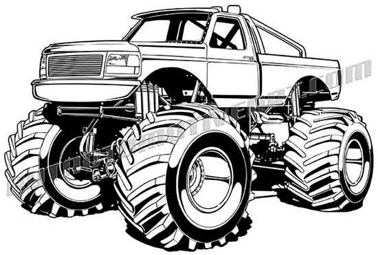 1990 ford f-150 monster truck clip art, buy two images get