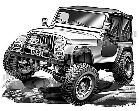 jeep cj on large rocks clip art buy two images get one free