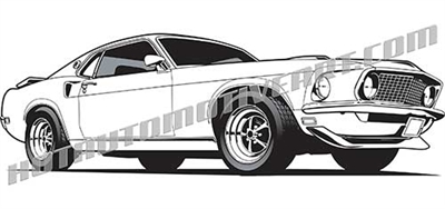 1969 mustang clip art low 3/4 view