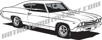 1969 chevy chevelle muscle car clip art side 3/4 view