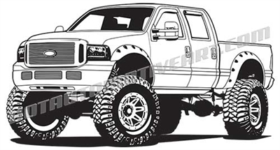 2007 ford F-250 lifted pickup truck clip art