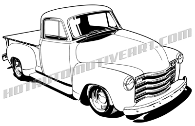 1948 chevy pickup truck clipart - 3/4 view