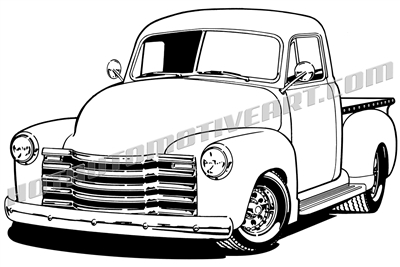 1948 chevy pickup clipart, left side 3/4 view