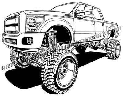 2015 ford F-250 lifted off road pickup truck clip art