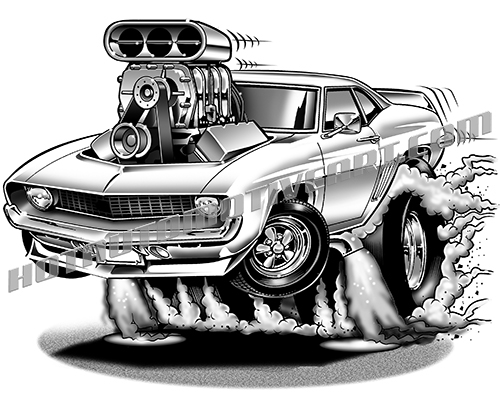 1969 Camaro Muscle Car Cartoon Smokey Burnout Clip Art Buy Two