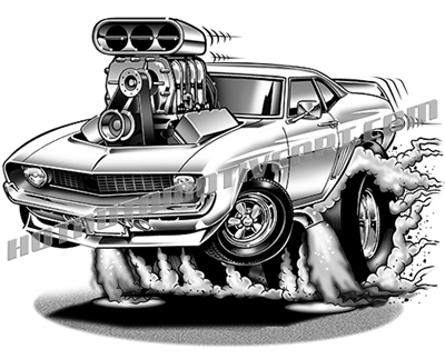 1969 Camaro muscle car cartoon clip art