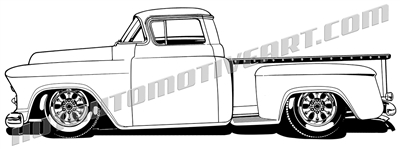 1958 Chevy custom pickup clip art - left side view