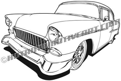 1955 Chevrolet 510 clip art rear view