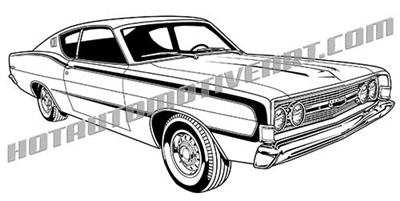 1968 Ford torino clip art side 3/4 view