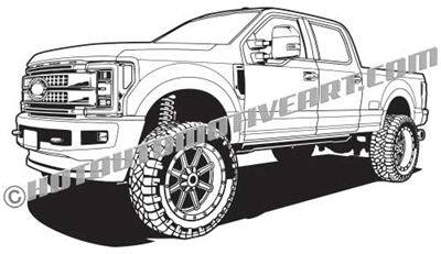 2017 ford F-250 lifted truck clip art