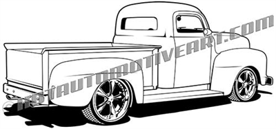 1951 Ford truck clip art rear 3/4 view