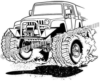 Jeep wrangler 4 door cartoon clip art