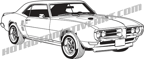 1968 Pontiac Firebird Muscle Car Clip Art Buy Two Images Get One