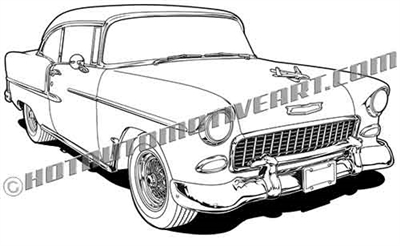 1955 Chevrolet street rod clip art 3/4 view