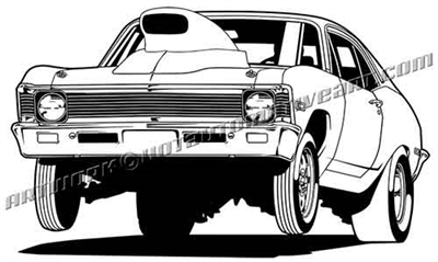 1968 Chevy Nova wheelie clip art, front 3/4 view