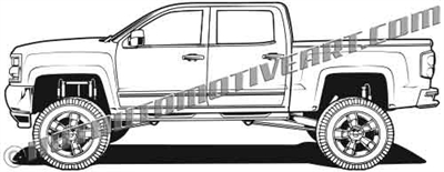 2017 Chevy Silverado lifted pickup clip art