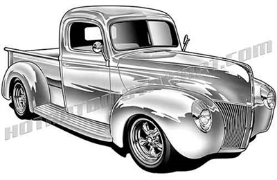 1940 ford pickup truck clipart right 3/4 view