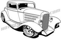 1932 ford three window coupe hot rod clip art