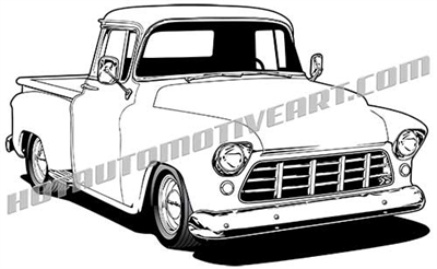 1955 Chevy custom pickup clip art - left side view