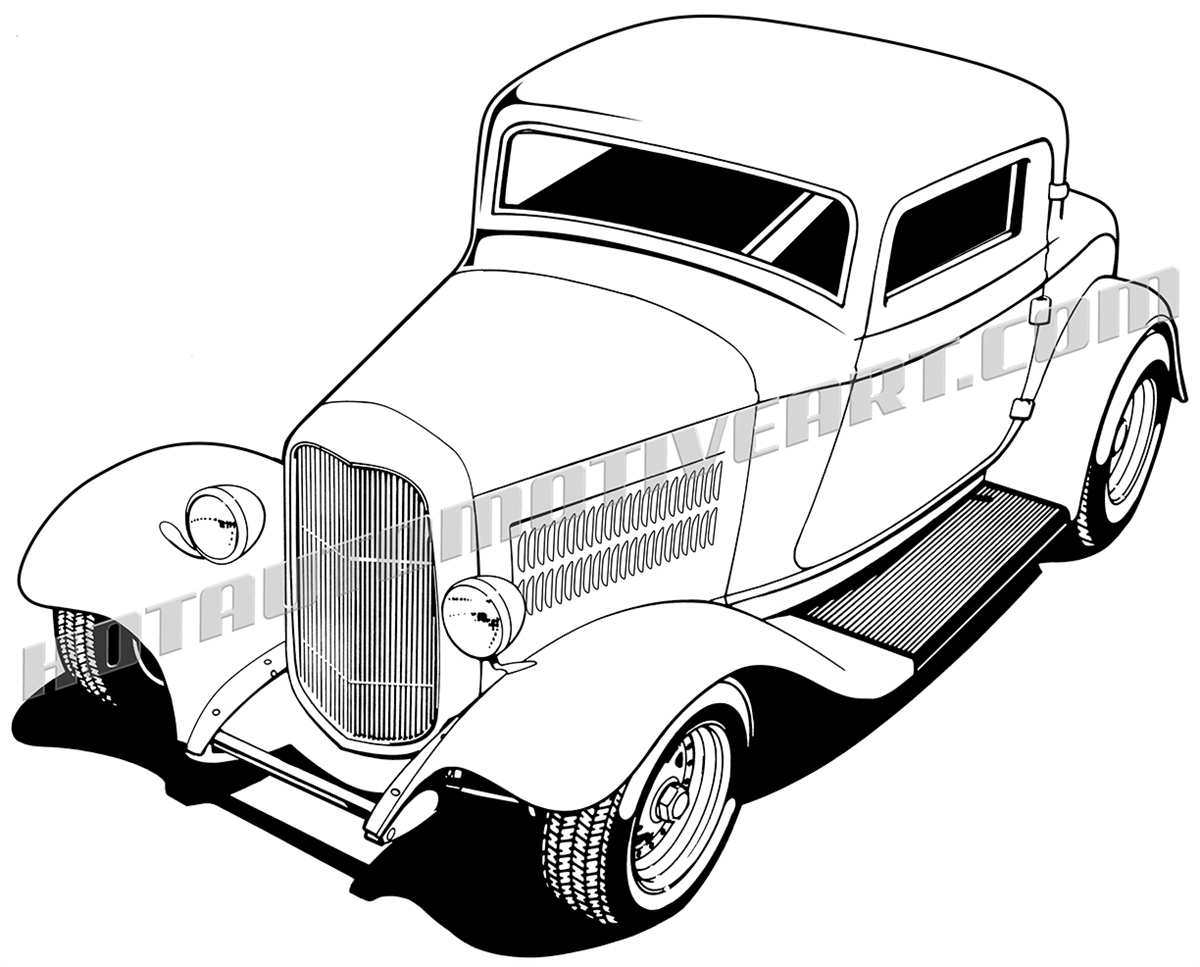 1932 ford three window coupe hot rod clip art buy two images get rh hotautomotiveart com hot rod clipart drawing 1932 ford hot rod clipart black and white