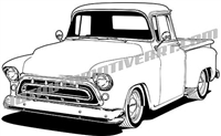 1957 chevy custom pickup clip art - left side view