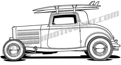 1932 ford hot rod three window coupe vector clip art high. Black Bedroom Furniture Sets. Home Design Ideas
