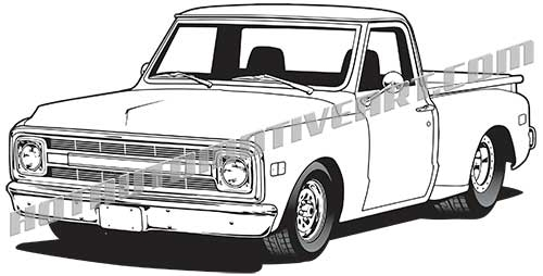 1969 chevy pickup vector clipart  high quality