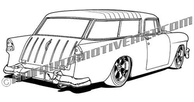 1955 Chevrolet Nomad clip art Rear 3/4 view
