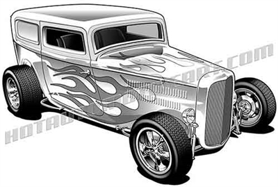 1932 ford panel hot rod clip art 3/4 view