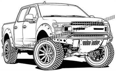 2019 ford F-150 4x4 lifted truck clip art